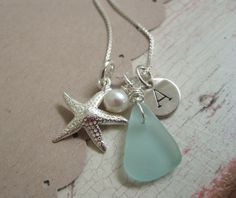 Life is a Beach ... Initial Necklace ... Personalized Necklace ... Beach Jewelry ... Custom Jewelry. $38.00, via Etsy.