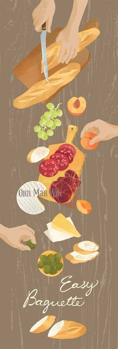 Baguette illustration grapes picnic cold meats cheese peaches salami olives brie picnic. Ohn Mar Win @ohnmarwin #food #illustration