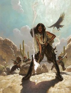 Mark Zug art and illustration - Zines - Tonja's Raiders Character Concept, Character Art, Concept Art, Art And Illustration, Dnd Characters, Fantasy Characters, Westerns, West Art, Character Portraits