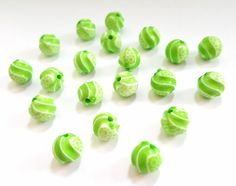 Lime Green Twisted Acrylic Beads.   Fun and Funky!!   10mm in Size.   20 Pretty…