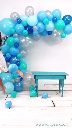 Beautiful blue tones, pearl silver and tiffany blue create a one of a kind garland ready for your backdrop. You can literally use this kit on any occasion and it will be a show-stopper. Wedding Balloon Decorations, Diy Birthday Decorations, Wedding Balloons, Birthday Balloons, Baby Shower Decorations, Spongebob Birthday Party, Blue Birthday Parties, Themed Parties, Its A Boy Balloons
