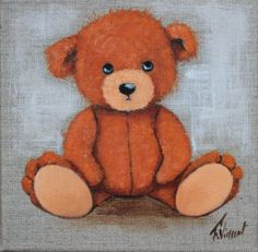 """tableau peinture à l'acrylique sur toile en lin d'un petit ours orange triste et mécontent de n'avoir toujours pas trouvé d'ami.Il vous attend! """"j'chuis pas content"""":Création - 2037589"""