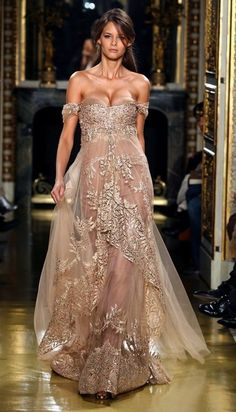 Off-the-shoulder gold tulle evening gown with embroidery (Spring/Summer 2007 Couture Collection by Zuhair Murad)