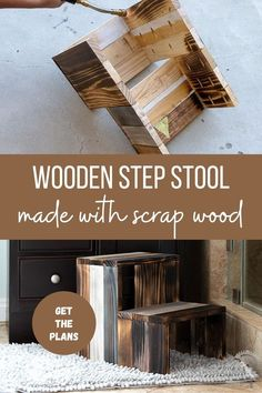 Easy DIY step stool for kids and toddlers with plans. Learn how to build DIY wooden step stool using scrap wood plans, video and tutorial #anikasdiylife