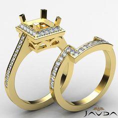 Cushion Cut Halo Diamond Wedding Rings Pave-Set Semi Mount Yellow Gold