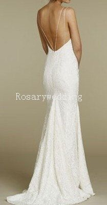 Elegant sexy lace backless wedding dress by Rosaryweddingdress