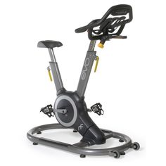 EVO IX Fitness Indoor Bike with Sway Frame and Orb Gear, Grey/Yellow. The orb gear drive System has a compact, single axis design that negates the need for a belt, chain, or external flywheel. It is a completely enclosed, three piece crank with an aligned Sun gear. Core active sway frame sways with body movement so that riders can engage their core muscles in order to get more out of a traditional cardio workout. Each EVO fitness bike Comes with a standard, specially designed set of...