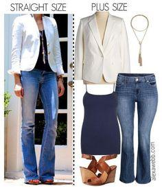 Straight Size to Plus Size - White Blazer and Flared Jeans - Plus Size Outfit Idea - Plus Size Fashion for Women - alexawebb.com