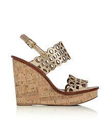 Tory Burch Nori Metallic Wedge Sandal