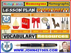 HOMOPHONES, HOMOGRAPHS, HOMONYMS: LESSON, RESOURCES AND EXERCISES