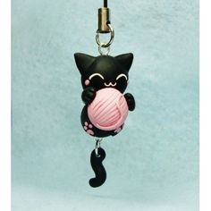 Cat & Ball of Yarn, keychain,mobile accessories,llavero,colgante…