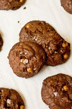 Smoked Sea Salt Chocolate Fudge Caramel Cookies- super rich and decadent!
