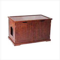Features:  -Hides the litter box and confines messes.  -Litter box not included.  -Pre-cut hole on the bench back panel to allow the cord of an automated litter box.  -Provides useful space for storag