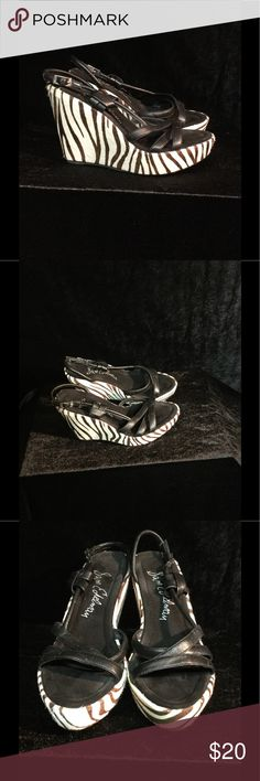 "Sam Edelman Wedge Pony Hair Sandals EUC Sam Edelman Wedge Pony Hair Sandals"" Zebra Print"" Sam Edelman Shoes Sandals"