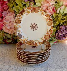 """8 Antique 19c Haviland Limoges Porcelain 7 1/2"""" Plates Flowers Center Medallion #HavilandLimoges"""