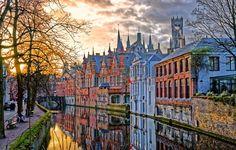 Grachten van Brugge Brugge Belgi Winter avond uitzicht  Stockfoto