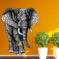 "This Ornate Walking Elephant by BioWorkZ looks like he is ready to take a little stroll. Adorned by flowers, circles and geometrical designs this detailed elephant wall sticker will easily peel and stick to any surface. Try it on walls, mirrors, doors, windows – easy installation guaranteed! Ornate Walking Elephant is available in 4 sizes: S-11""w x 13.9""h; M-15""w x 19""h; L-28.5""w x 35.8""h; XL-40.7""w x 51.5""h. Our wall stickers are made with SafeCling, a high-quality polyester fabric material…"