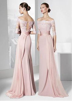 Fantastic Silk-like Chiffon Off-the-shoulder Neckline Cut-out Sheath Evening Dresses With Lace Appliques