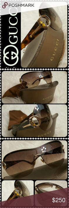 Gucci Designer Sunglasses Gucci Designer Italy Made Sunglasses, Brown and Gold Tones with Gucci Signature Logo on Both Sides, Like New Condition- No Scratches or Flaws! A Must Have :)  Comes in Gucci Original Case and Cleaning Cloth, a Rare Limited Edition Find in Almost Brand New!!! Gucci Accessories Sunglasses