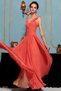Robe en Stock-Cou d\'orange longue robe de soirée V profond Simple