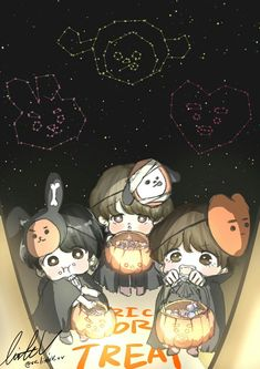 Maknae being chibi angels! Loli Kawaii, Kawaii Anime, Bts Chibi, Anime Chibi, Bts Halloween, Bts Maknae Line, Vkook, Bts Memes Hilarious, Bts Drawings