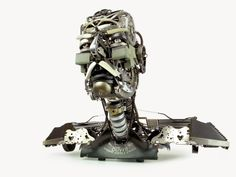 "Re-assemblage | Bust V (Grandfather)    22""x11""x17""  Typewriter parts  2011"
