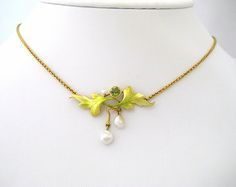 art nouveau jewelry | Art Nouveau Neckpiece with Iridescent Enamel, Bezel Set Peridot and ...