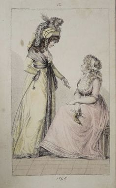 1796 the lady on the left wears a beautiful riding outfit - she carries a crop.