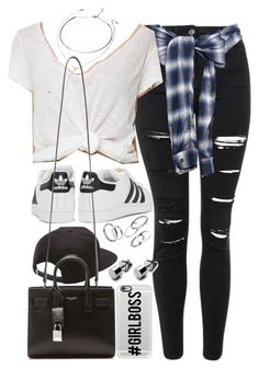 """Outfit with Adidas sneakers"" by ferned on Polyvore featuring Topshop, Miharayasuhiro, Forever 21, Vans, adidas Originals, Yves Saint Laurent, MANGO and Casetify"