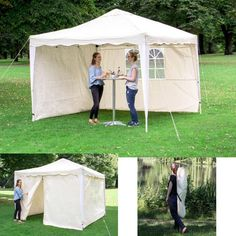 Pop Up Gazebo 4 Sides Aluminium Outdoor Folding Garden Party Wedding Tent Canopy