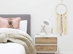 Mocka Mod Headboard - Single White with Kennedy Two Drawer, Tilly Lamp and Dream Catcher
