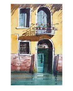 Andy Shore. Venetian doorway Watercolour #reflection #watercolor #watercolour #door #venice #painting #art