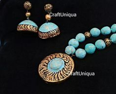 By jibina Like CraftUniqua on facebook for more collections Polymer Beads, Polymer Clay Pendant, Fashion Jewellery, Handmade Jewellery, Terracotta Jewellery Designs, Simple Jewelry, Jewelry Organization, Clay Jewelry, Indian Jewelry
