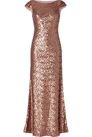 Sequined Gown in Seville Rose von JENNY PACKHAM