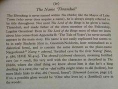 "The Name ""Thranduil"""