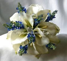 Flowers, White, Blue, Wedding, Lily, Calla, Silver