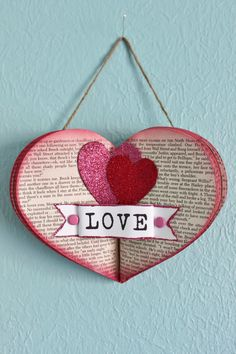 Upcycled Book Heart wall hang for Valentines by whimsysworkshop.