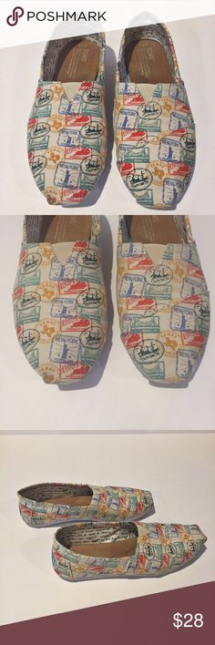 TOMS 'USA Vintage Stamp Print' Slip-on RARE print Lightweight slip-on in sturdy canvas. Printed with vintage-inspired stamps showcasing the great states of USA. 🇺🇸 Going on a road trip? These are for you! This print is RARE and so cool! 👗👛👠👙👕Bundle & Save! TOMS Shoes Flats & Loafers
