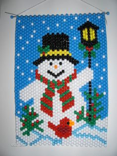 SNOWMAN By A Lamp Post BEADED BANNER by woodenwonderknits on Etsy                                                                                                                                                                                 Más