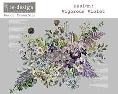 NEW RELEASE Vigorous Violet by redesign with Prima rub on | Etsy Rub On Transfers, Image Transfers, Dixie Belle Paint, Decoupage Paper, Rice Paper, Beautiful Space, E Design, Decoration, Vintage Floral