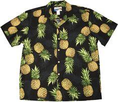 614f34c1 Maui Pineapple Men's Hawaiian Tropical Aloha Paradise Found's Waimea label  Shirt created in Black and White