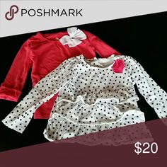 4T Girls Shirts Both in great condition, two of my favorite shirts for my girl. One black and white polka dots is Carters, one a pretty coral color with fun buttons on the sleeve Koala Kids. Shirts & Tops Tees - Long Sleeve