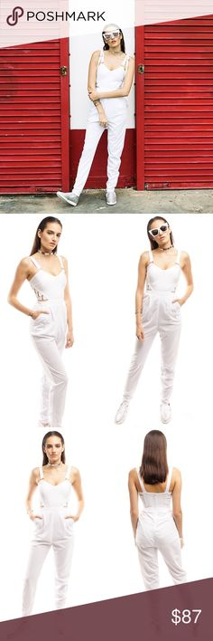 WHITE BANDAGE JUMPSUIT EDITOR'S NOTES & DETAILS  White Sleveless Bandage fabric (top)  Sheer trouser pant fit bottom, inner lining Long pant jumpsuit Side pockets Back zipper closure 90% Polyester 10% Spandex (self)  97% Polyester 3% Spandex Style Link Miami Pants Jumpsuits & Rompers