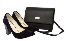 Czarne czółenka z zamszu z ozdobnym srebrnym obcasem. Zestaw czółenka i kopertówka Roseti obuwie Fashion, Moda, Fashion Styles, Fasion