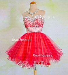 Sweetheart Beads Red lining Tulle Red-white Stripe Waist Prom Dresses/ Homecoming dress  This dress can be custom made, both size and color can be custom made. Custom size and color made will charge for no extra. If you need a custom dress, please send us messages for your detail requirements....