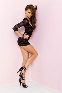 Short sexy black lace dress hot black high heels perfect body on top of incredible legs!!