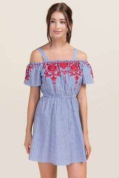 Kylie Embroidered Poplin Shift Dress