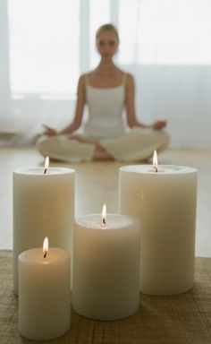 Yoga Studio at Home: Engage your senses when doing yoga or meditation at home by including calming sounds and scents. Make room for a music player. Choose candles or incense to deliver the scents you enjoy experiencing while practising yoga or meditation. Home Yoga Room, Yoga Studio Home, Yoga At Home, Meditation Space, Meditation Music, Meditation Crystals, Healing Crystals, Healing Stones, Yoga Photos