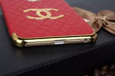 Chanel Double C Leather Back Case with Gold Metal Border for Iphone 6 4.7 Iphone 6 Plus Iphone 5/5S - Oz3Ds.com