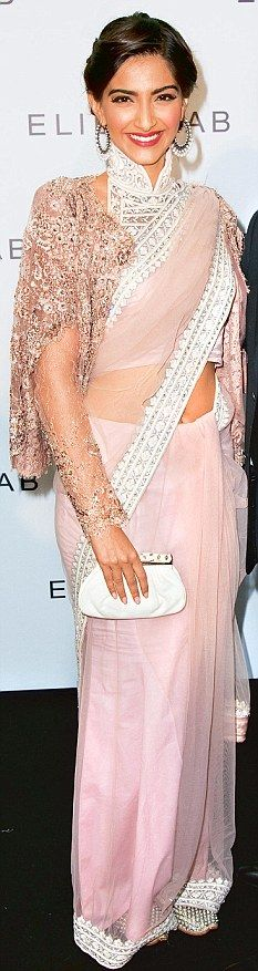 Haute couture pink sari, high neck blouse and Elie Saab sari jacket.